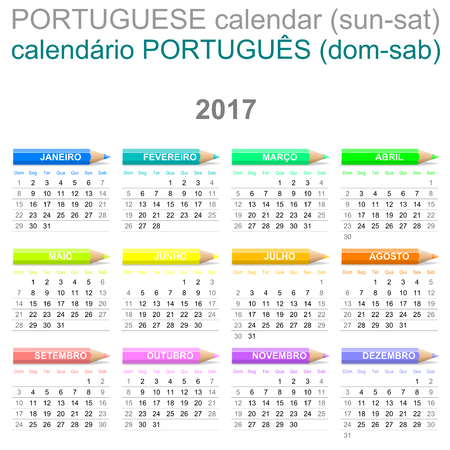 newyear: Colorful Sunday to Saturday 2017 Calendar with Crayons Portuguese Version Illustration