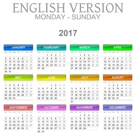 version: Colorful Monday to Sunday 2017 Calendar English Language Version Illustration Stock Photo