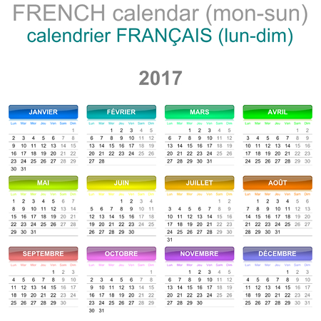 Colorful Monday to Sunday 2017 Calendar French Language Version Illustration
