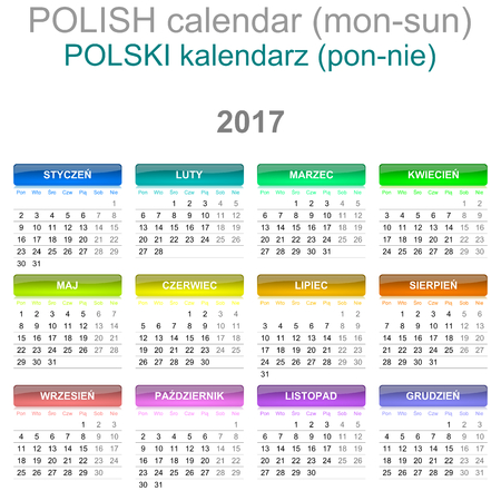 newyear: Colorful Monday to Sunday 2017 Calendar Polish Language Version Illustration Stock Photo