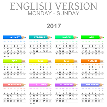 colour pencil: Colorful Monday to Sunday 2017 Calendar with Crayons English Version Illustration