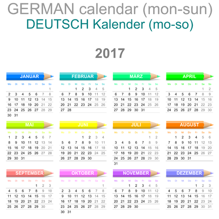 month: Colorful Monday to Sunday 2017 Calendar with Crayons German Version Illustration