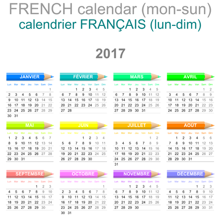newyear: Colorful Monday to Sunday 2017 Calendar with Crayons French Version Illustration Stock Photo
