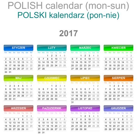 version: Colorful Monday to Sunday 2017 Calendar Polish Language Version Illustration Stock Photo