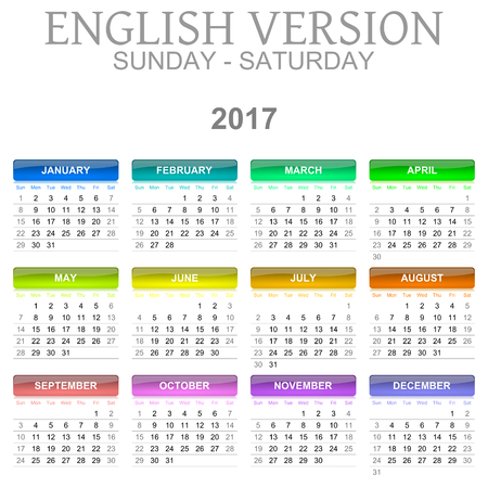 Colorful Sunday to Saturday 2017 Calendar English Language Version Illustration