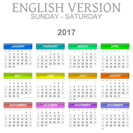 meses del año: Colorido Domingo a Sábado Calendario 2017 Ilustración Inglés Versión del lenguaje