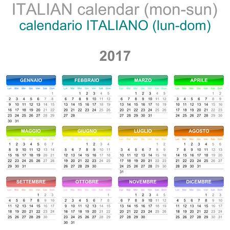 version: Colorful Monday to Sunday 2017 Calendar Italian Language Version Illustration