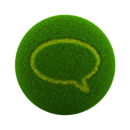 green grass: Green Globe with Grass Cutted in the Shape of a Speech Bubble Symbol 3D Illustration Isolated on White Background