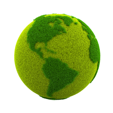 Grassy Green Earth Planet American Side Isolated on White Background 3D Illustration