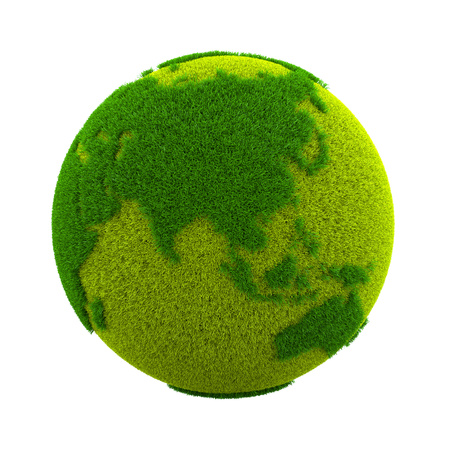 Grassy Green Earth Planet Asian Side Isolated on White Background 3D Illustration