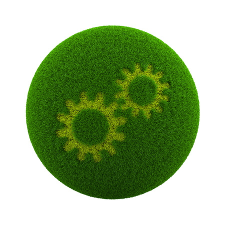 configure: Green Globe with Grass Cutted in the Shape of Gears 3D Illustration Isolated on White Background
