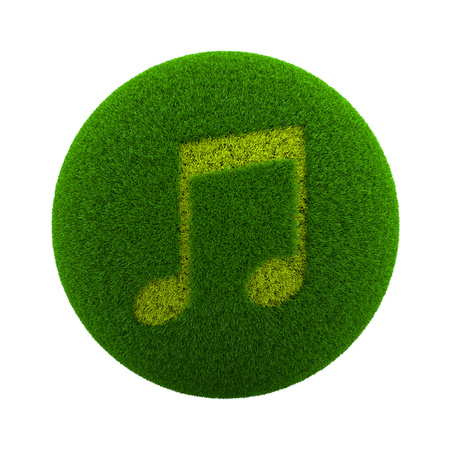 green grass: Green Globe with Grass Cutted in the Shape of Musical Note Symbol 3D Illustration Isolated on White Background Stock Photo