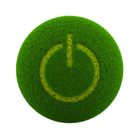 green power: Green Globe with Grass Cutted in the Shape of Power On-Off Symbol 3D Illustration Isolated on White Background Stock Photo