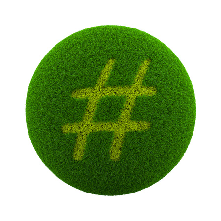 microblogging: Green Globe with Grass Cutted in the Shape of Sharp Symbol 3D Illustration Isolated on White Background Stock Photo