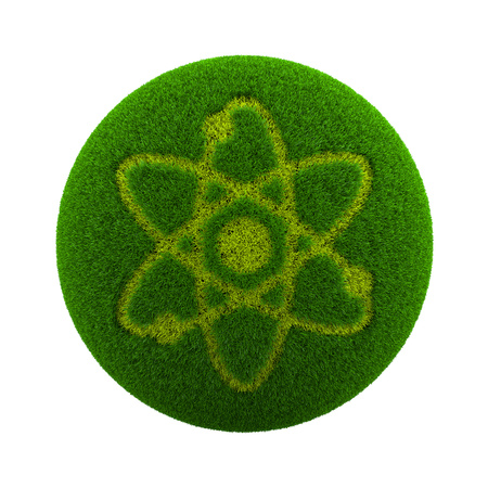 green grass: Green Globe with Grass Cutted in the Shape of an Atom Symbol 3D Illustration Isolated on White Background