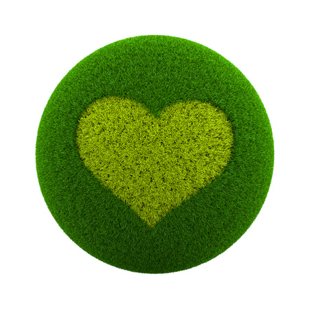 green grass: Green Globe with Grass Cutted in the Shape of an Heart Symbol 3D Illustration Isolated on White Background Stock Photo