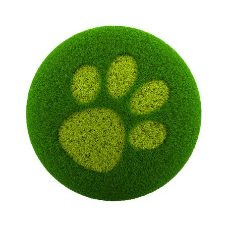 huellas de perro: Globo verde con hierba Cutted en la forma de un perro Huella Ilustración 3D aislada en el fondo blanco