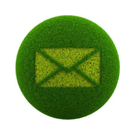green grass: Green Globe with Grass Cutted in the Shape of a Mail Envelope Symbol 3D Illustration Isolated on White Background