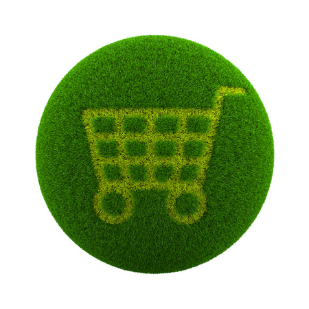 ecological environment: Green Globe with Grass Cutted in the Shape of a Shopping Cart 3D Illustration Isolated on White Background Stock Photo