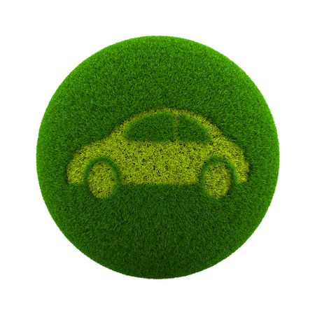 motorcar: Green Globe with Grass Cutted in the Shape of a Car 3D Illustration Isolated on White Background