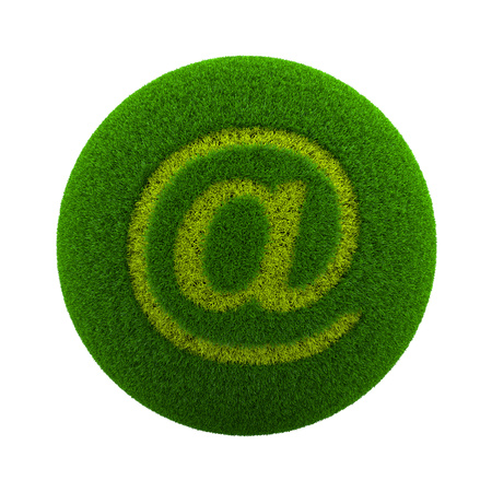 green grass: Green Globe with Grass Cutted in the Shape of Email At Text Symbol 3D Illustration Isolated on White Background