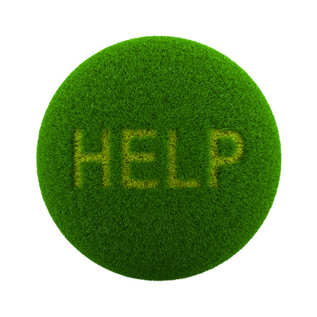 help symbol: Green Globe with Grass Cutted in the Shape of Help Text Symbol 3D Illustration Isolated on White Background Stock Photo