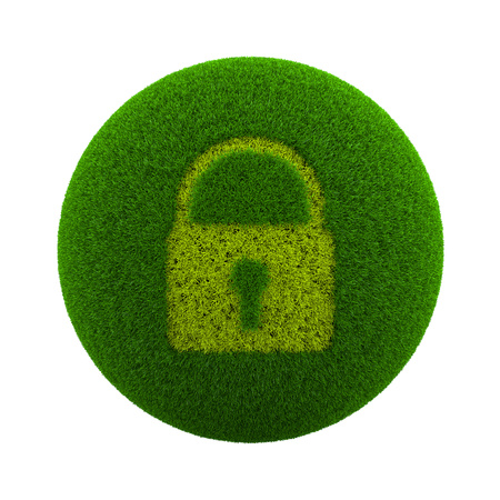 lock symbol: Green Globe with Grass Cutted in the Shape of Closed Lock Symbol 3D Illustration Isolated on White Background