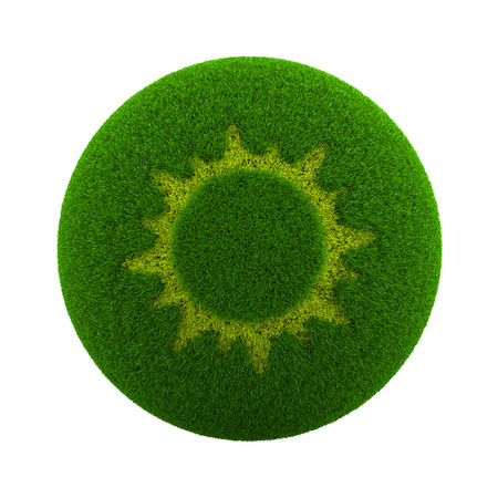forme: Green Globe avec Herbe Cutted en forme de soleil Illustration 3D isolé sur fond blanc