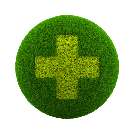 medical cross symbol: Green Globe with Grass Cutted in the Shape of a Medical Cross Symbol 3D Illustration Isolated on White Background Stock Photo