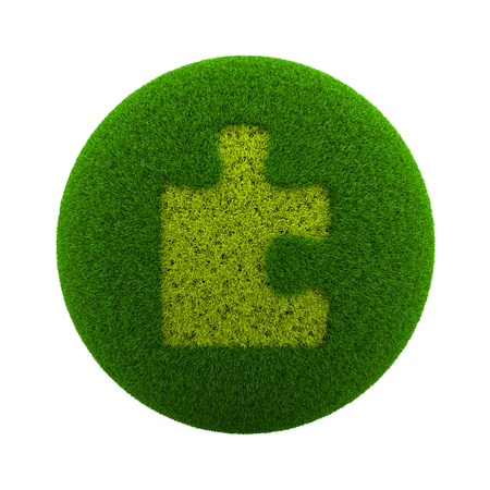 globe puzzle: Green Globe with Grass Cutted in the Shape of a Puzzle Piece 3D Illustration Isolated on White Background