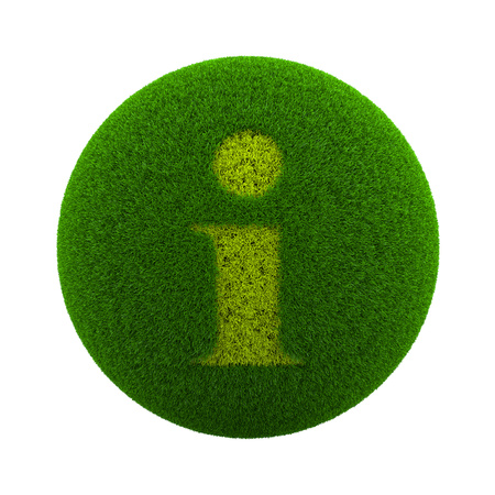 information  isolated: Green Globe with Grass Cutted in the Shape of Information Text Symbol 3D Illustration Isolated on White Background