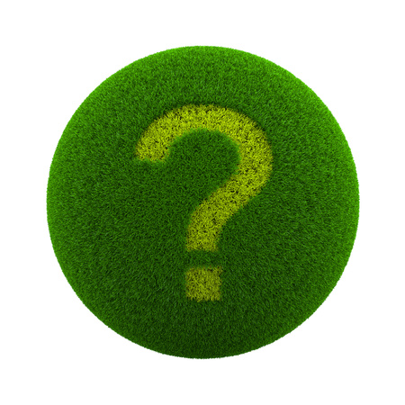 assist: Green Globe with Grass Cutted in the Shape of a Question Mark Symbol 3D Illustration Isolated on White Background Stock Photo