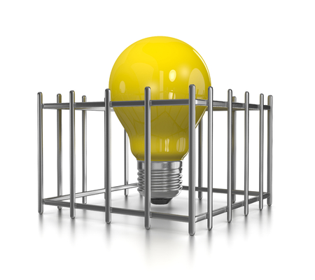 entrap: One Single Yellow Light Bulb in a Cage on White Background 3D Illustration