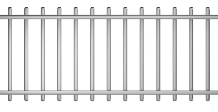 iron: Metal Barrier Stencil 3D Illustration on White Background Stock Photo