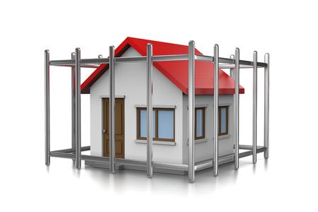 白い背景の上のケージの 3 D 図の家 写真素材