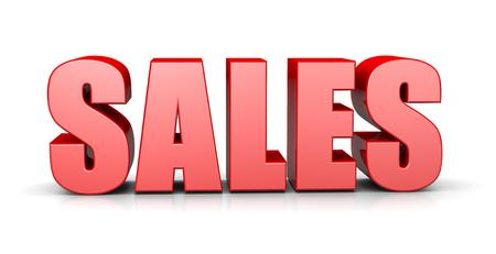 big break: Sales Red 3D Text English Language Illustration on White Background