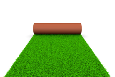 grounds: Carpet of Grass Unrolling on White Ground 3D Illustration on White Background