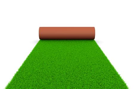 terreno: Tappeto d'erba svolgitore su bianco illustrazione terra 3D su sfondo bianco