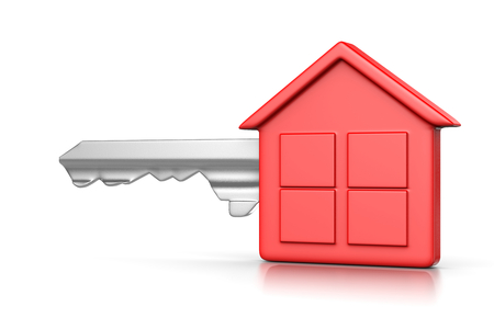 gripping: One Single Metal Key with Red Plastic Head in the Shape of an House on White Background 3D Illustration