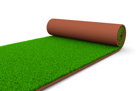 greensward: Carpet of Grass Unrolling on White Ground 3D Illustration on White Background