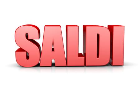 big break: Sales Red 3D Text Italian Language Illustration on White Background