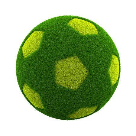 grassy: Green Grassy Soccerball Isolated on White Background 3D Illustration