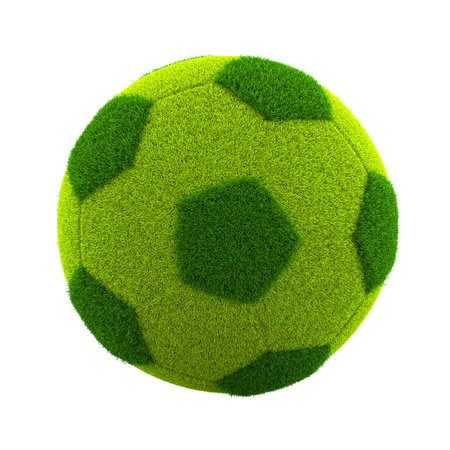 soccerball: Green Grassy Soccerball Isolated on White Background 3D Illustration
