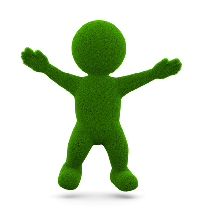 little man: Happy Green Grassy Character 3D Illustration on White Background