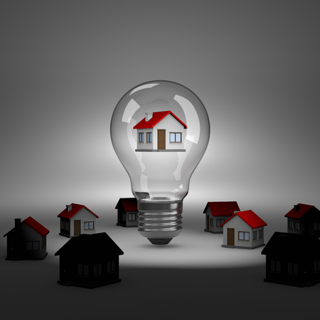 spot lit: Light Bulb with an House Inside under Spotlight 3D Illustration