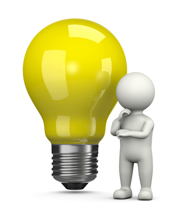 inventiveness: White 3D Character in Front of a Big Yellow Light Bulb Illustration on White Background