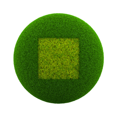 Green Globe with Grass Cutted in the Shape of a Square Symbol 3D Illustration Isolated on White Background