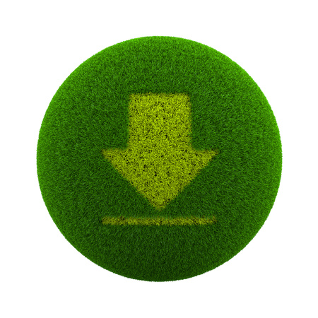 downloads: Green Globe with Grass Cutted in the Shape of Download Symbol 3D Illustration Isolated on White Background