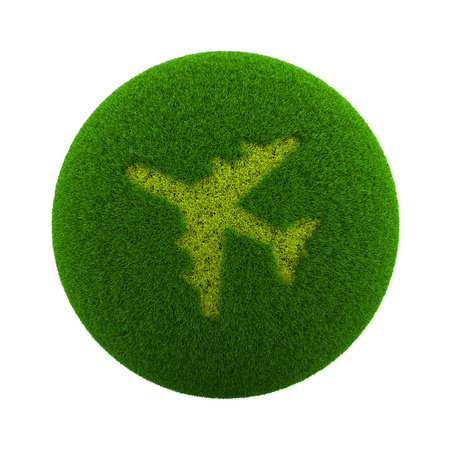 green grass: Green Globe with Grass Cutted in the Shape of an Airplane Symbol 3D Illustration Isolated on White Background Stock Photo