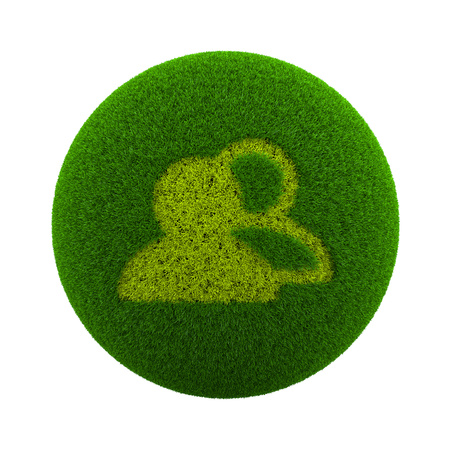 Green Globe with Grass Cutted in the Shape of a People Group Symbol 3D Illustration Isolated on White Background Stock Photo